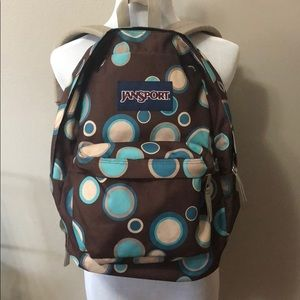 Handbags - Jansport brown with teal dots backpack